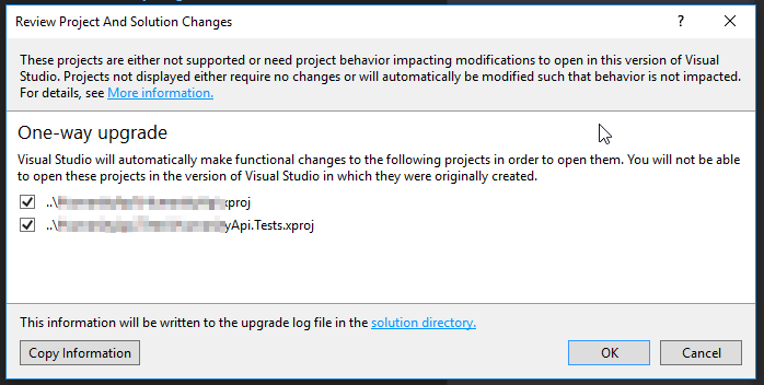 vs2017 project upgrade
